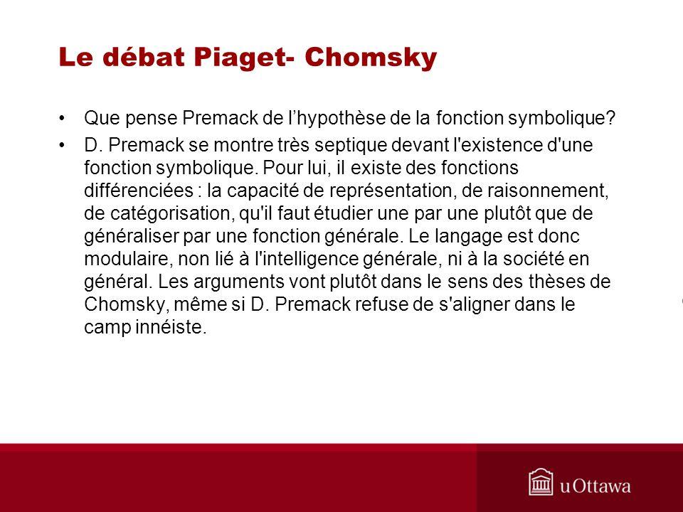 Le débat Piaget- Chomsky Que pense Premack de lhypothèse de la fonction symbolique.