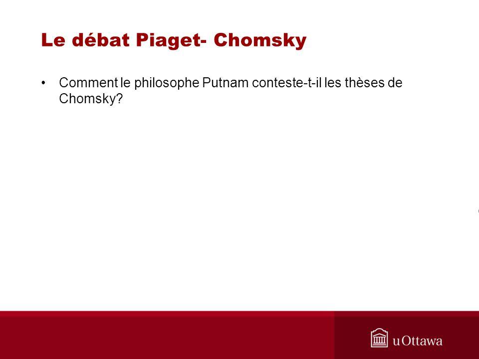 Le débat Piaget- Chomsky Comment le philosophe Putnam conteste-t-il les thèses de Chomsky?