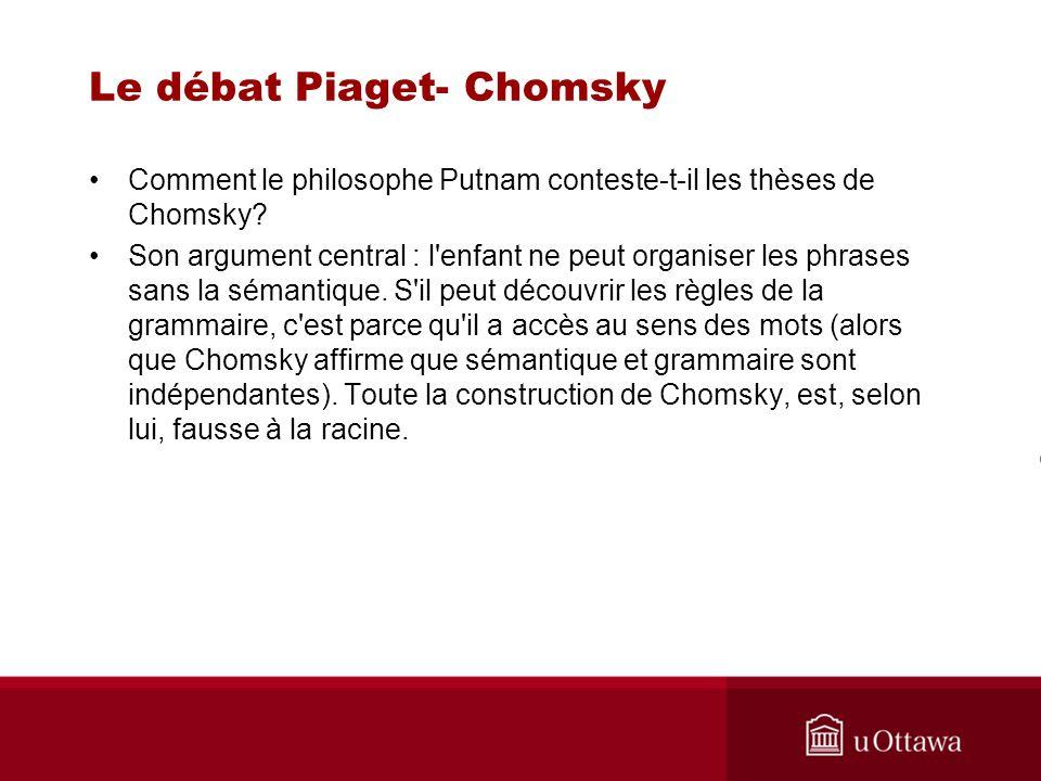 Le débat Piaget- Chomsky Comment le philosophe Putnam conteste-t-il les thèses de Chomsky.