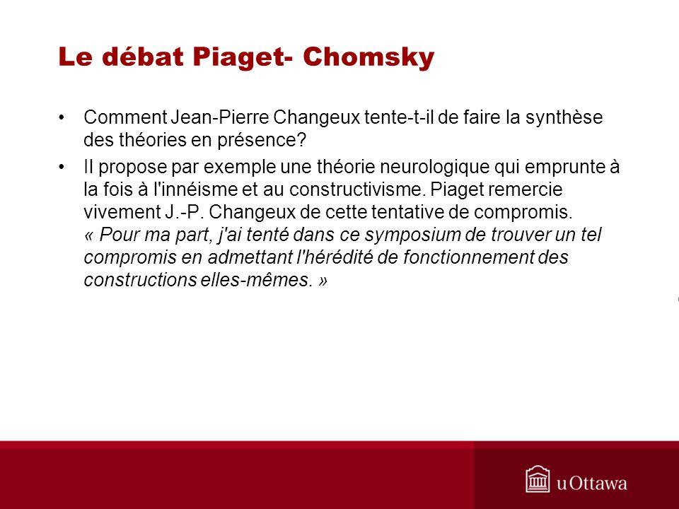 Le débat Piaget- Chomsky Comment Jean-Pierre Changeux tente-t-il de faire la synthèse des théories en présence.