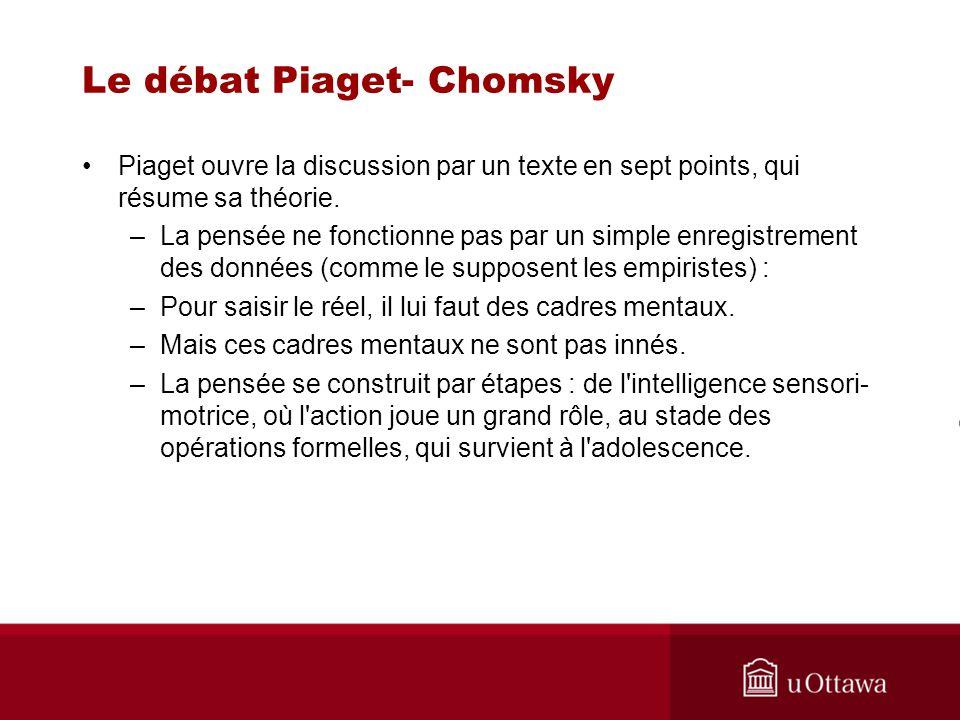 Le débat Piaget- Chomsky Pour Piaget, ce n est pas parce qu un comportement est universel et solidement enraciné qu il est transmis héréditairement.