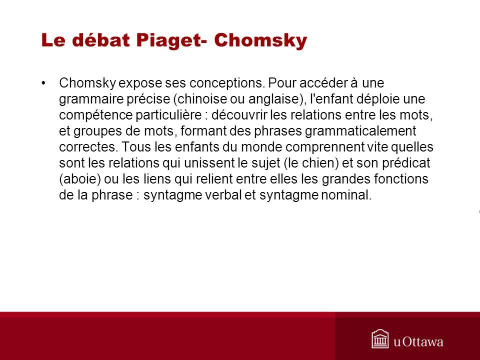 Le débat Piaget- Chomsky Quel est le but de la grammaire générative .