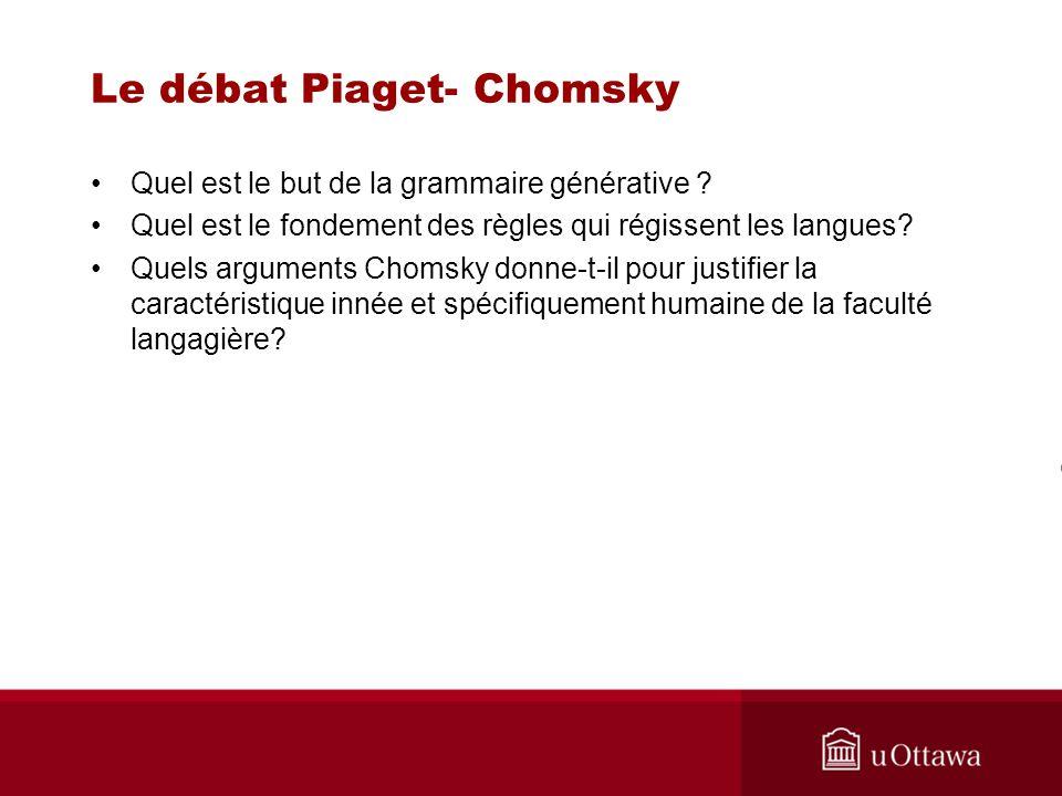 Le débat Piaget- Chomsky Que pense Premack de lhypothèse de la fonction symbolique?