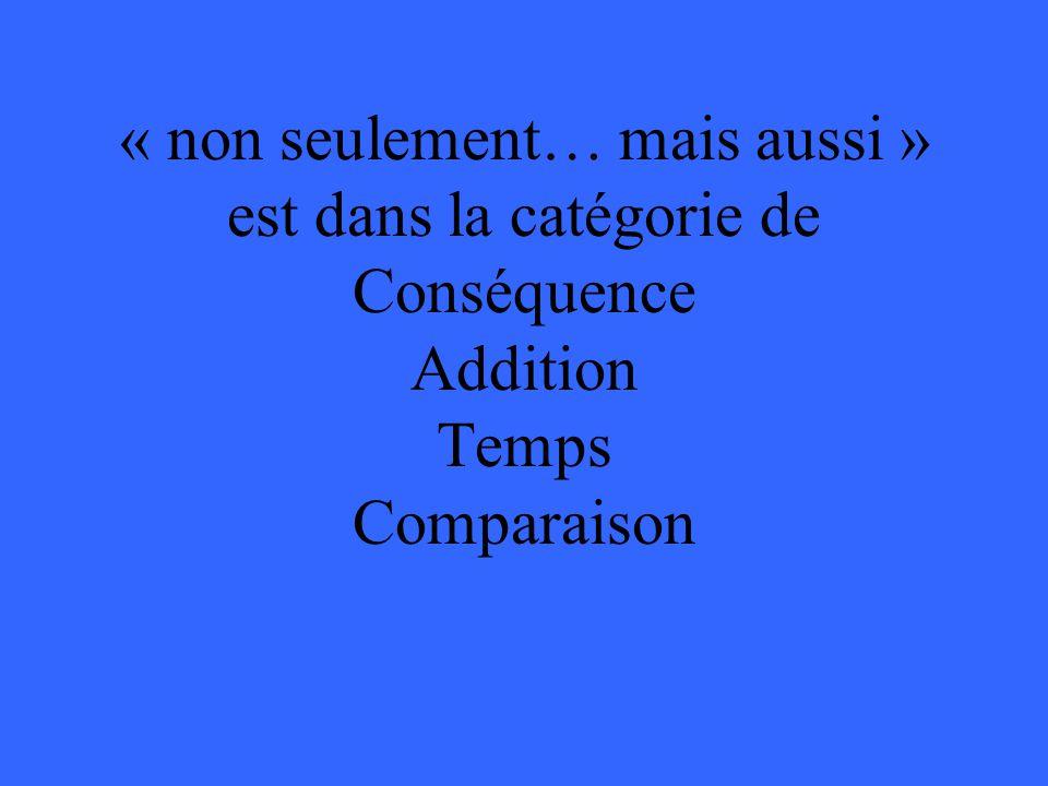 « non seulement… mais aussi » est dans la catégorie de Conséquence Addition Temps Comparaison