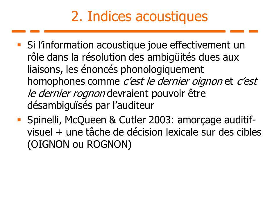 2. Indices acoustiques Si linformation acoustique joue effectivement un rôle dans la résolution des ambigüités dues aux liaisons, les énoncés phonolog