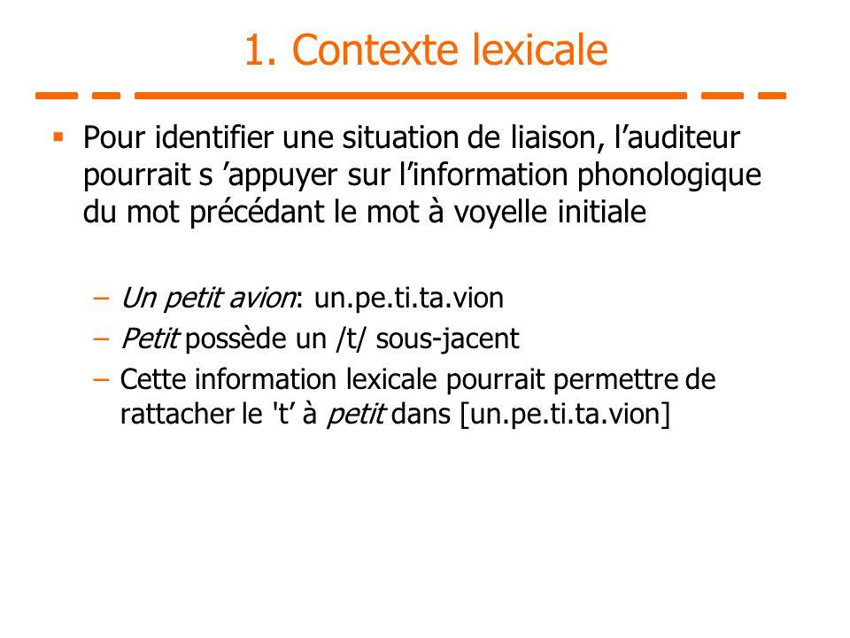 1. Contexte lexicale Pour identifier une situation de liaison, lauditeur pourrait s appuyer sur linformation phonologique du mot précédant le mot à vo