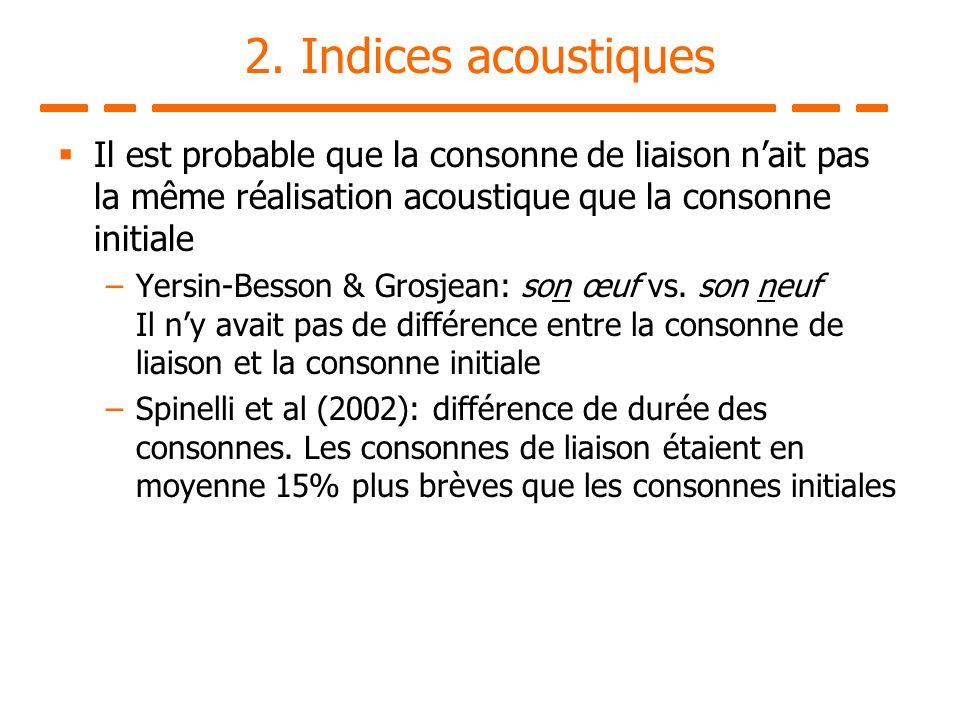 2. Indices acoustiques Il est probable que la consonne de liaison nait pas la même réalisation acoustique que la consonne initiale –Yersin-Besson & Gr