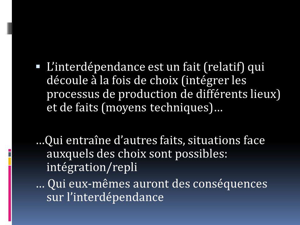 Linterdépendance est un fait (relatif) qui découle à la fois de choix (intégrer les processus de production de différents lieux) et de faits (moyens t