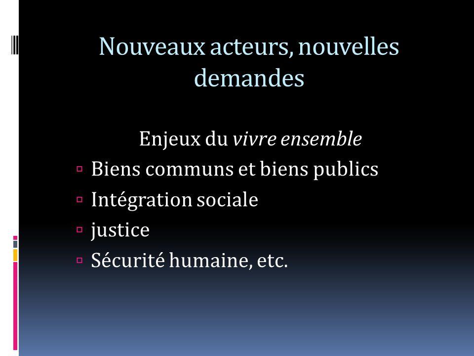 Nouveaux acteurs, nouvelles demandes Enjeux du vivre ensemble Biens communs et biens publics Intégration sociale justice Sécurité humaine, etc.