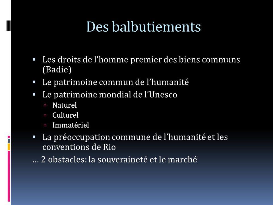 Des balbutiements Les droits de lhomme premier des biens communs (Badie) Le patrimoine commun de lhumanité Le patrimoine mondial de lUnesco Naturel Cu