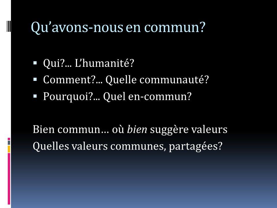 Quavons-nous en commun? Qui?... Lhumanité? Comment?... Quelle communauté? Pourquoi?... Quel en-commun? Bien commun… où bien suggère valeurs Quelles va