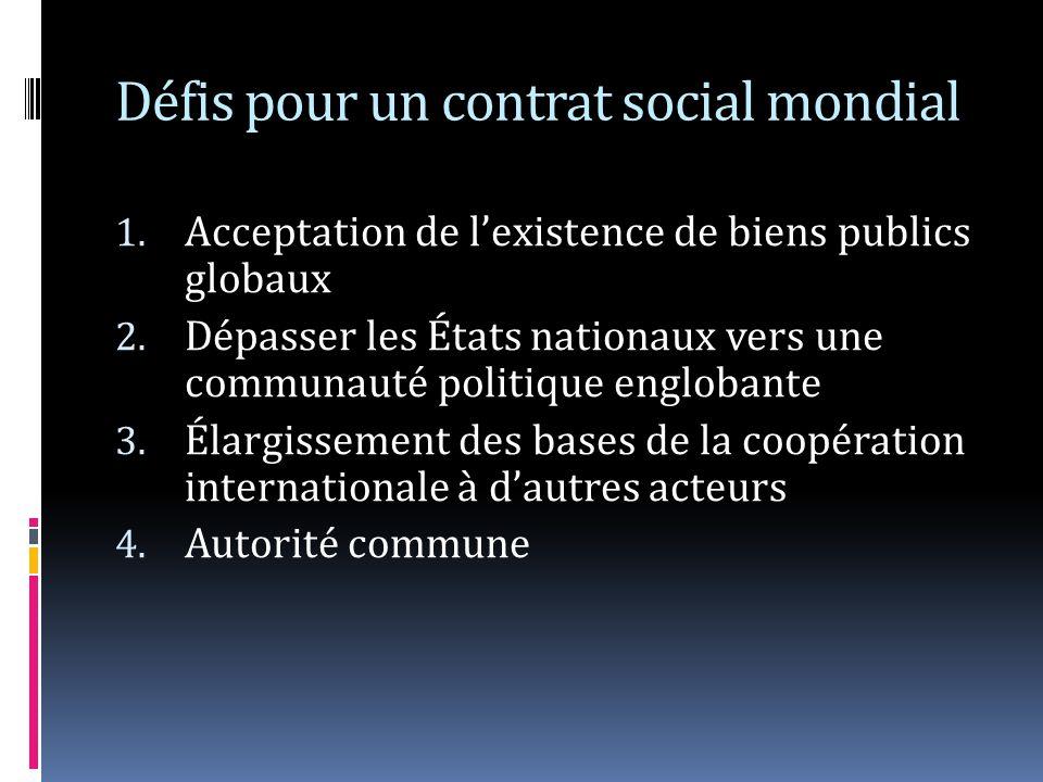 Défis pour un contrat social mondial 1. Acceptation de lexistence de biens publics globaux 2. Dépasser les États nationaux vers une communauté politiq