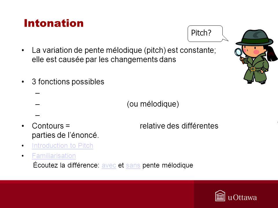 Intonation La variation de pente mélodique (pitch) est constante; elle est causée par les changements dans 3 fonctions possibles – – (ou mélodique) –