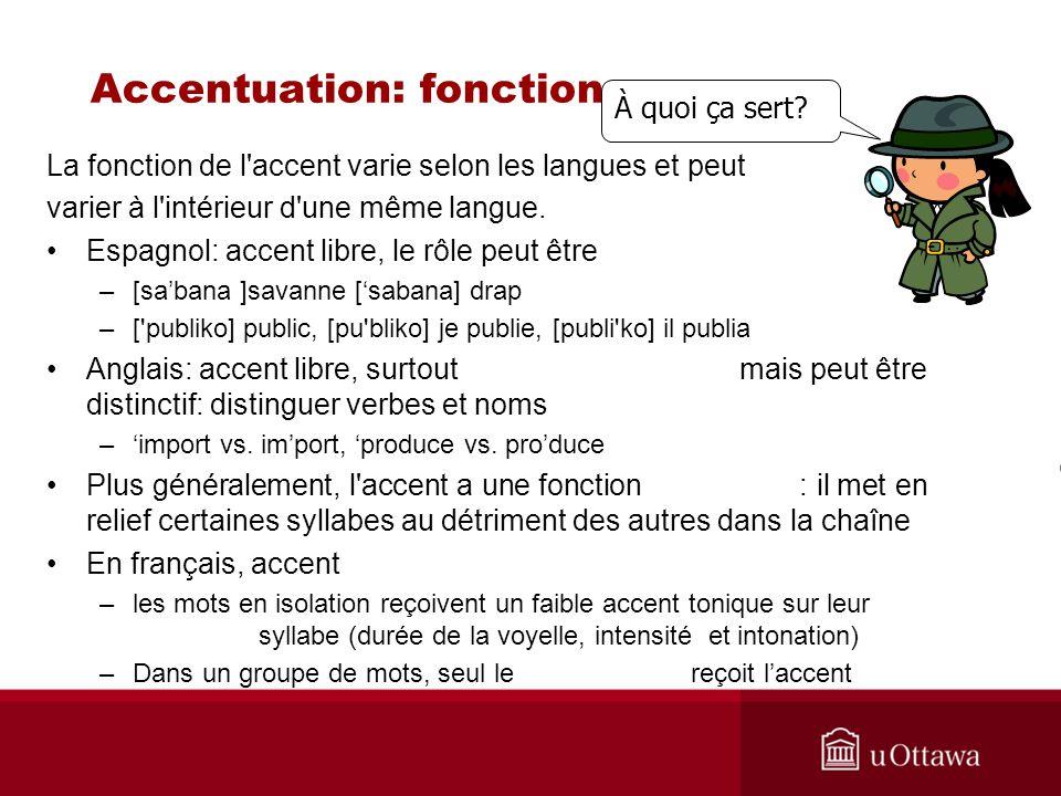 Accentuation: fonction La fonction de l'accent varie selon les langues et peut varier à l'intérieur d'une même langue. Espagnol: accent libre, le rôle