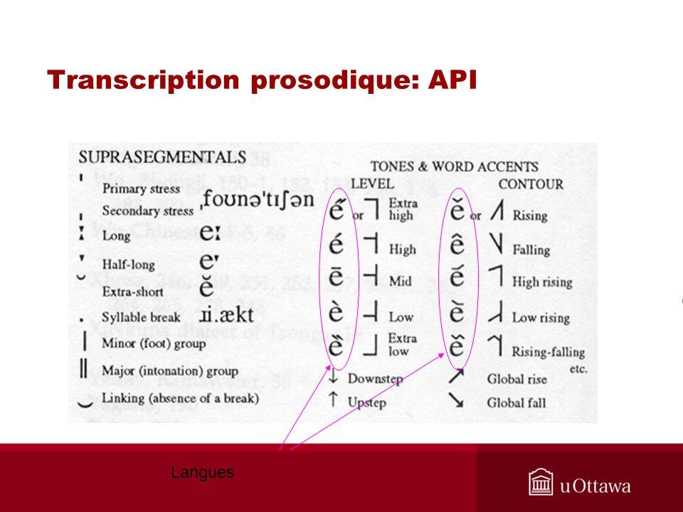 Transcription prosodique: API Langues