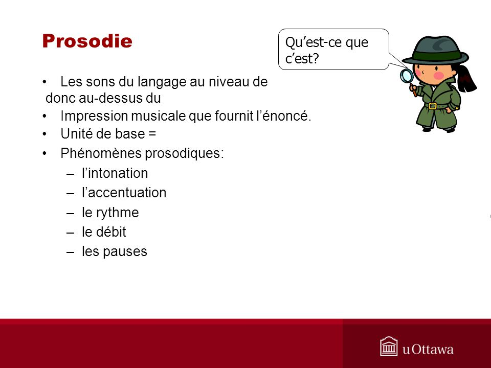 Prosodie Les sons du langage au niveau de donc au-dessus du Impression musicale que fournit lénoncé. Unité de base = Phénomènes prosodiques: –lintonat