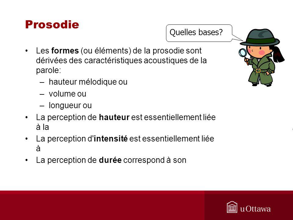Prosodie Les formes (ou éléments) de la prosodie sont dérivées des caractéristiques acoustiques de la parole: –hauteur mélodique ou –volume ou –longue