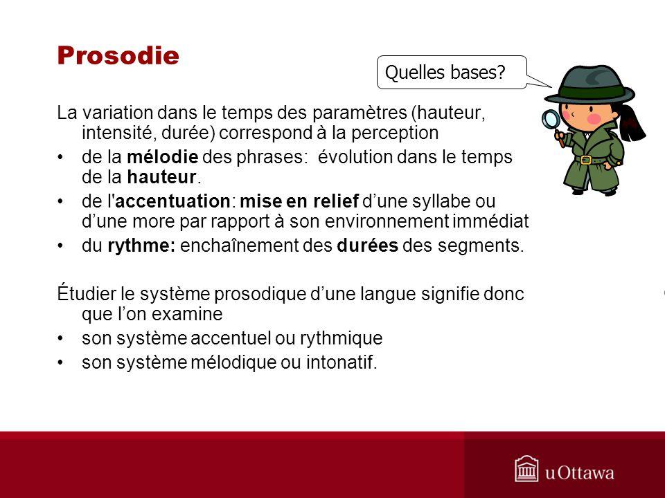 Prosodie La variation dans le temps des paramètres (hauteur, intensité, durée) correspond à la perception de la mélodie des phrases: évolution dans le