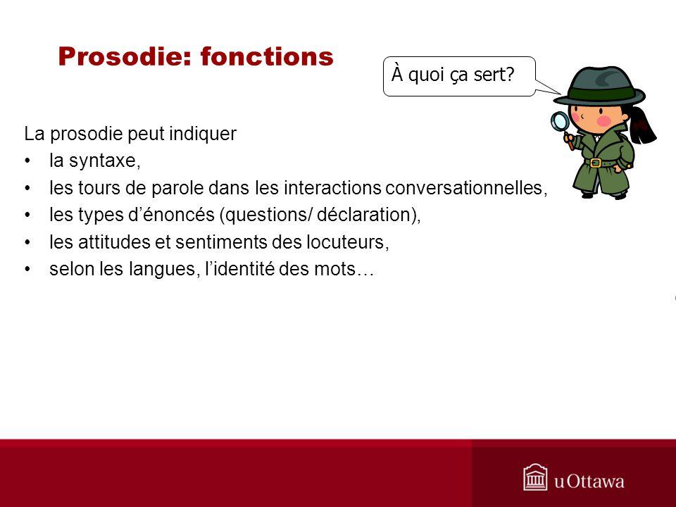 Prosodie: fonctions La prosodie peut indiquer la syntaxe, les tours de parole dans les interactions conversationnelles, les types dénoncés (questions/