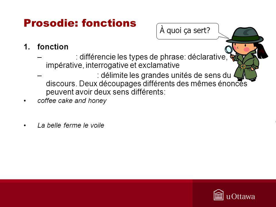 1.fonction – : différencie les types de phrase: déclarative, impérative, interrogative et exclamative – : délimite les grandes unités de sens du disco