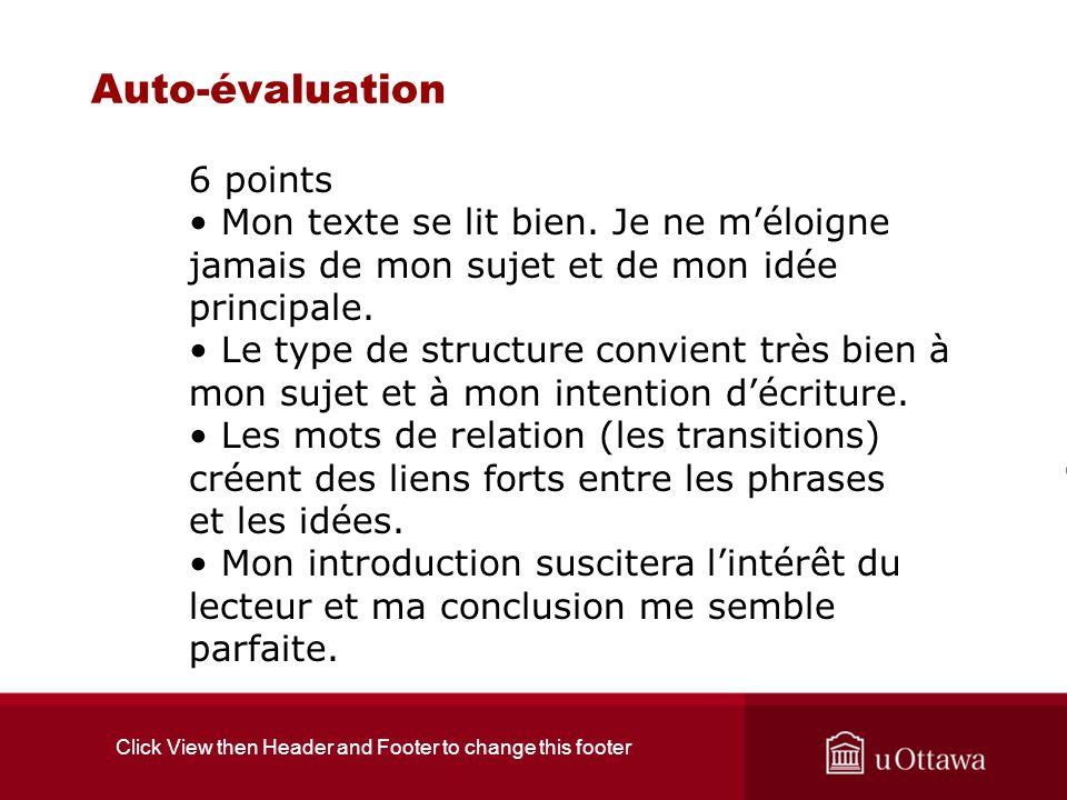 Click View then Header and Footer to change this footer Auto-évaluation 6 points Mon texte se lit bien. Je ne méloigne jamais de mon sujet et de mon i