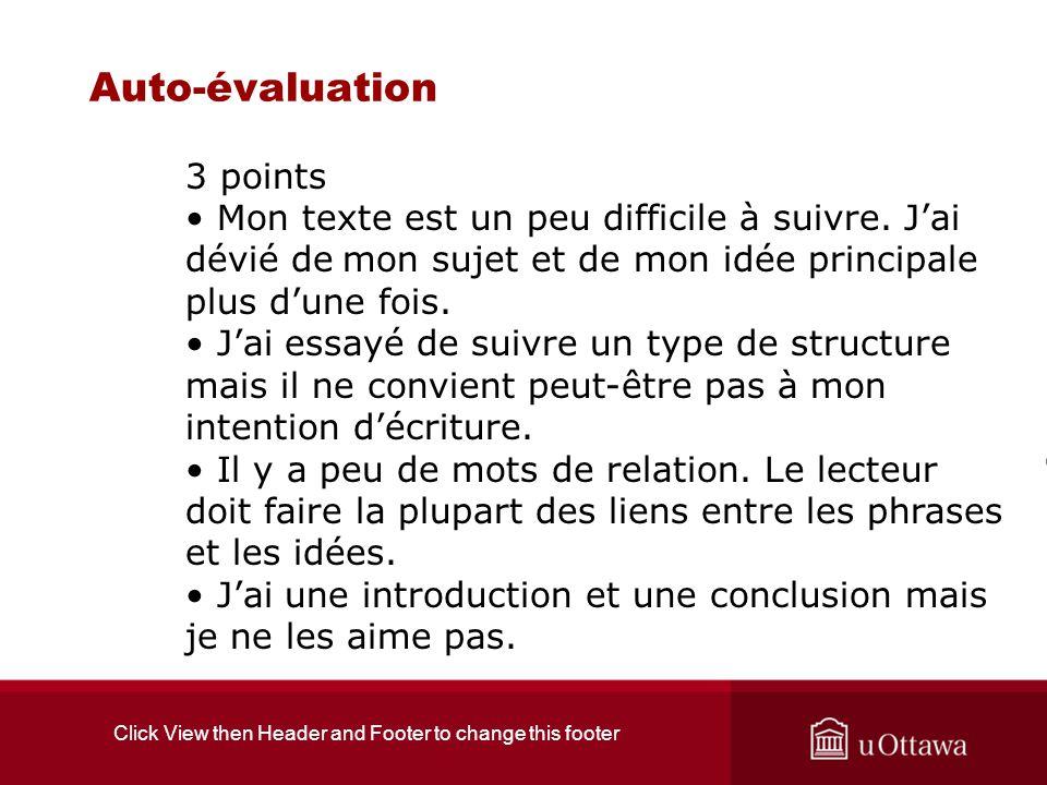 Click View then Header and Footer to change this footer Auto-évaluation 3 points Mon texte est un peu difficile à suivre. Jai dévié de mon sujet et de
