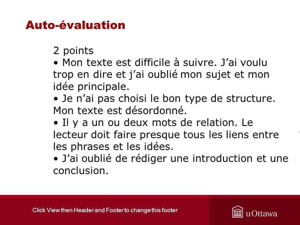Click View then Header and Footer to change this footer Auto-évaluation 2 points Mon texte est difficile à suivre. Jai voulu trop en dire et jai oubli