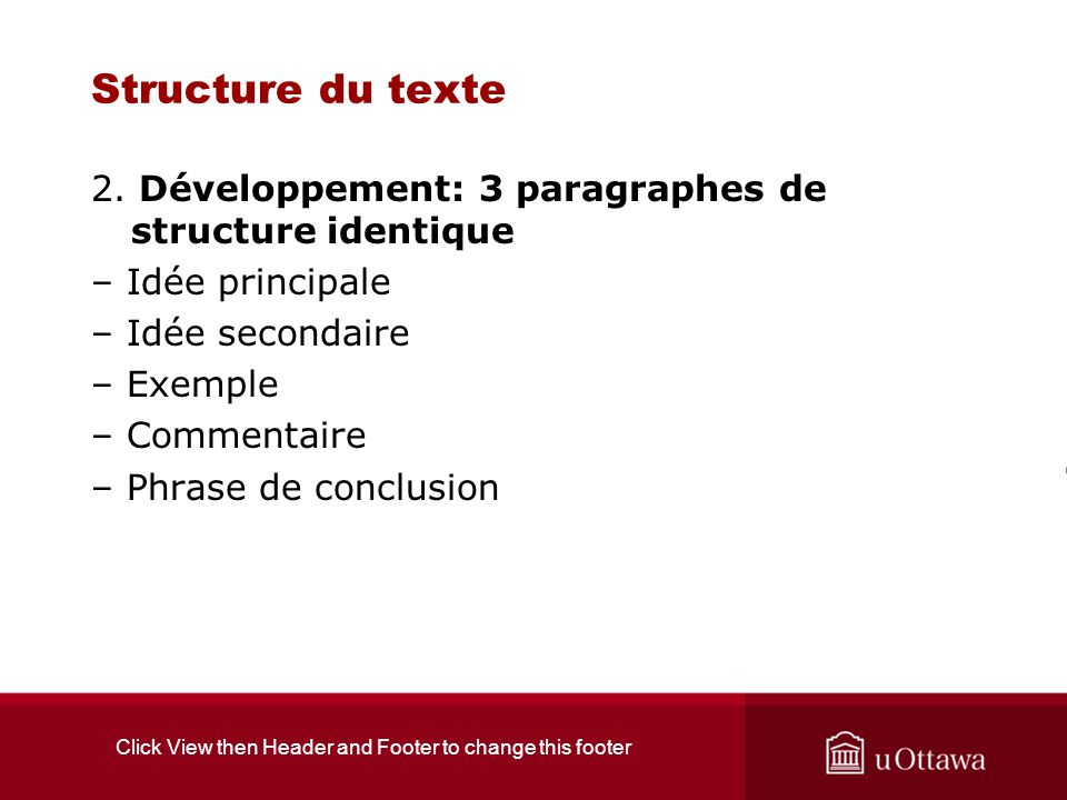 Click View then Header and Footer to change this footer Auto-évaluation 4 points Mon texte se lit assez bien.