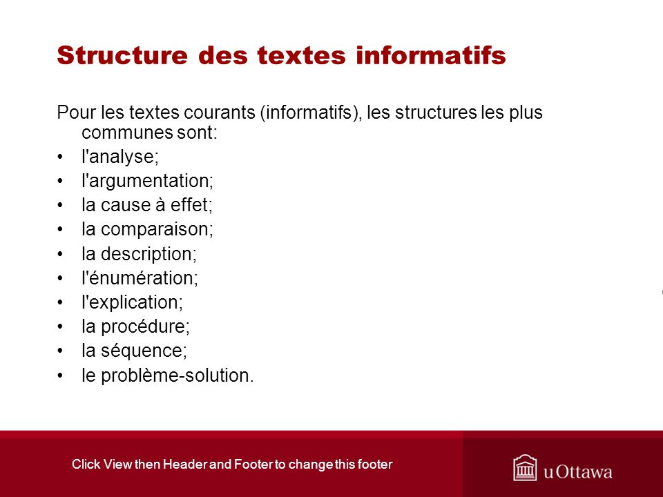 Click View then Header and Footer to change this footer Structure de cause à effet