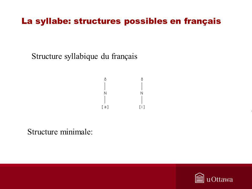 Structure syllabique du français Structure minimale: La syllabe: structures possibles en français