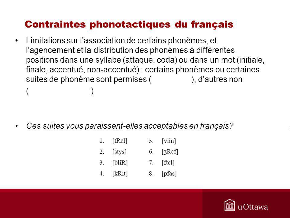 Contraintes phonotactiques du français Limitations sur lassociation de certains phonèmes, et lagencement et la distribution des phonèmes à différentes