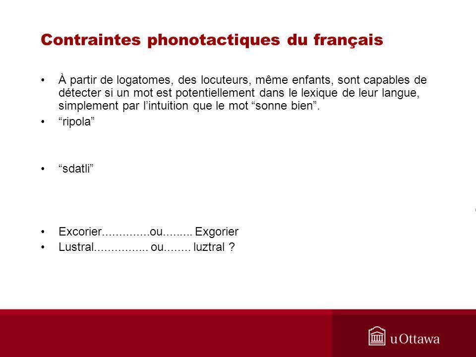 Contraintes phonotactiques du français À partir de logatomes, des locuteurs, même enfants, sont capables de détecter si un mot est potentiellement dan
