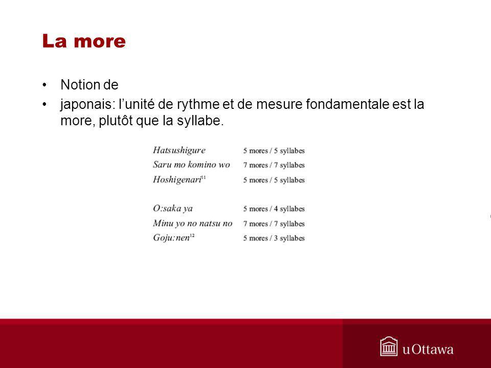 La more Notion de japonais: lunité de rythme et de mesure fondamentale est la more, plutôt que la syllabe.