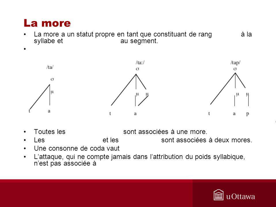 La more La more a un statut propre en tant que constituant de rang à la syllabe et au segment. Toutes les sont associées à une more. Les et les sont a