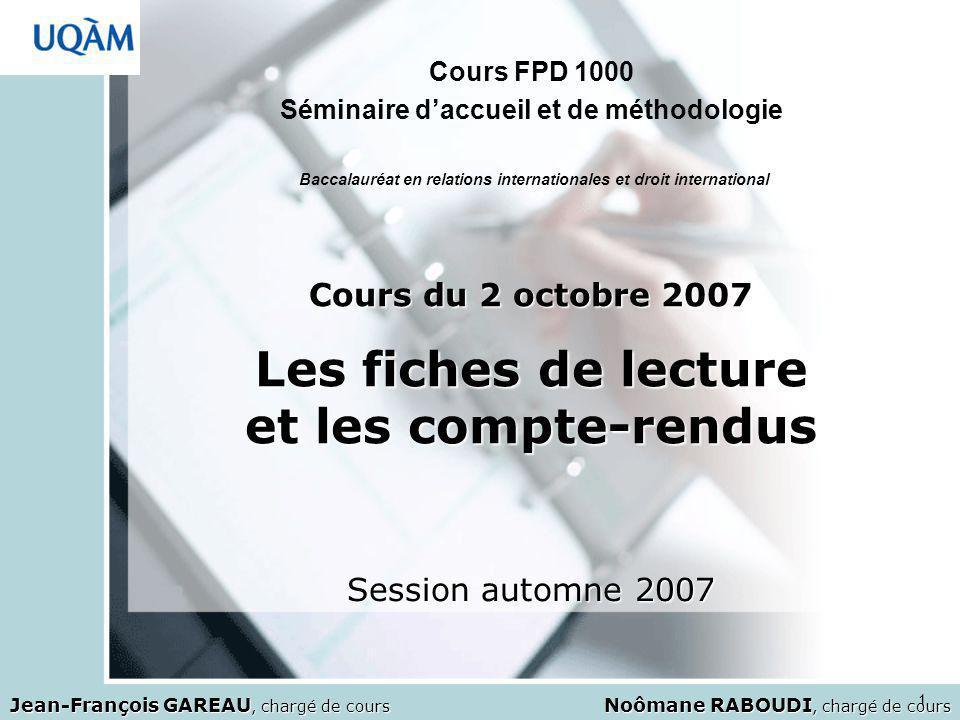 1 Baccalauréat en relations internationales et droit international Cours FPD 1000 Séminaire daccueil et de méthodologie Noômane RABOUDI, chargé de cou