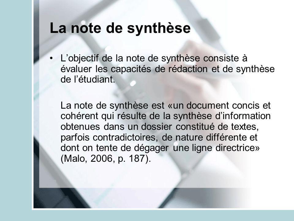 La note de synthèse Lobjectif de la note de synthèse consiste à évaluer les capacités de rédaction et de synthèse de létudiant. La note de synthèse es