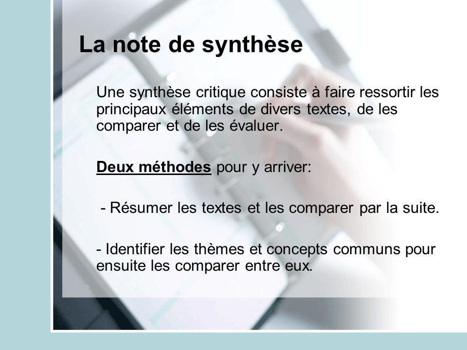 La note de synthèse Une synthèse critique consiste à faire ressortir les principaux éléments de divers textes, de les comparer et de les évaluer. Deux