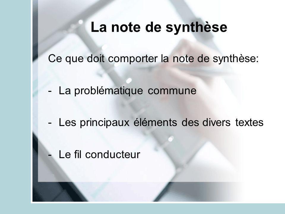 La note de synthèse Ce que doit comporter la note de synthèse: -La problématique commune -Les principaux éléments des divers textes -Le fil conducteur
