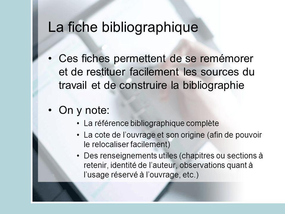 La fiche bibliographique Ces fiches permettent de se remémorer et de restituer facilement les sources du travail et de construire la bibliographie On
