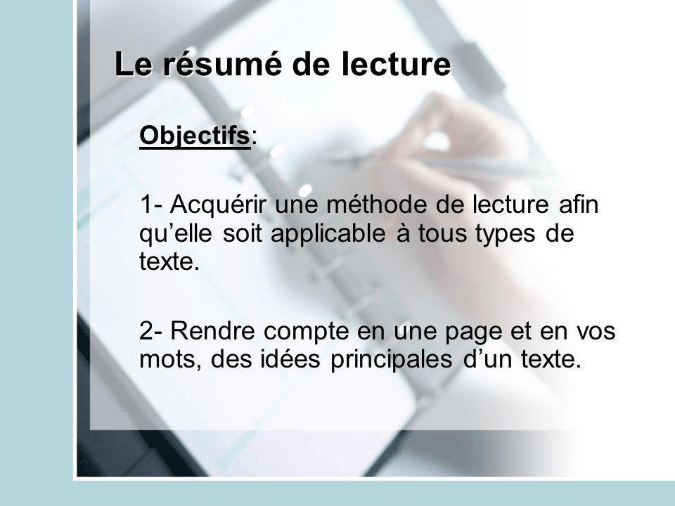 Le résumé de lecture Objectifs: 1- Acquérir une méthode de lecture afin quelle soit applicable à tous types de texte. 2- Rendre compte en une page et