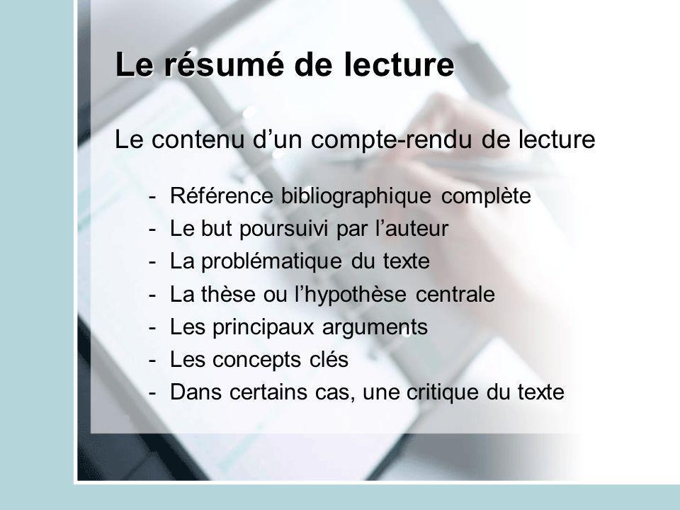 Le résumé de lecture Le contenu dun compte-rendu de lecture -Référence bibliographique complète -Le but poursuivi par lauteur -La problématique du tex