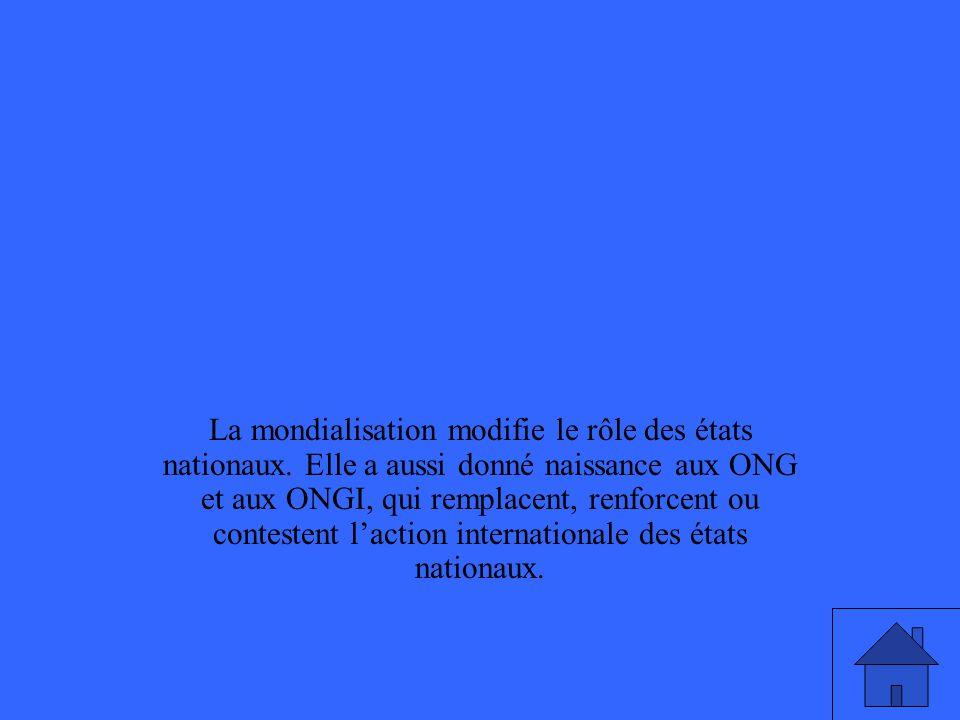 La mondialisation modifie le rôle des états nationaux. Elle a aussi donné naissance aux ONG et aux ONGI, qui remplacent, renforcent ou contestent lact