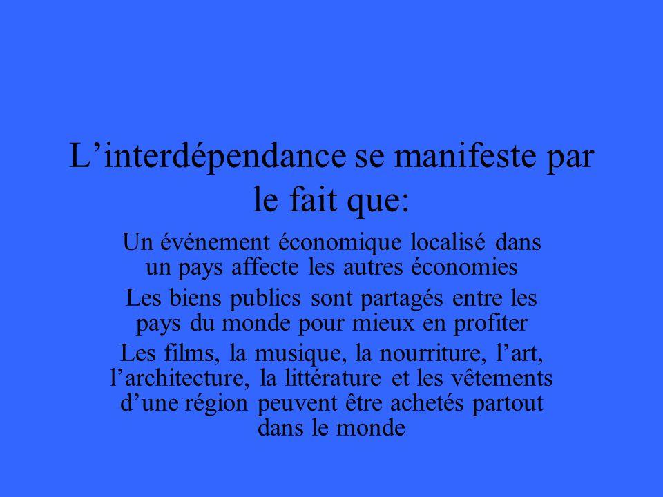 Linterdépendance se manifeste par le fait que: Un événement économique localisé dans un pays affecte les autres économies Les biens publics sont parta