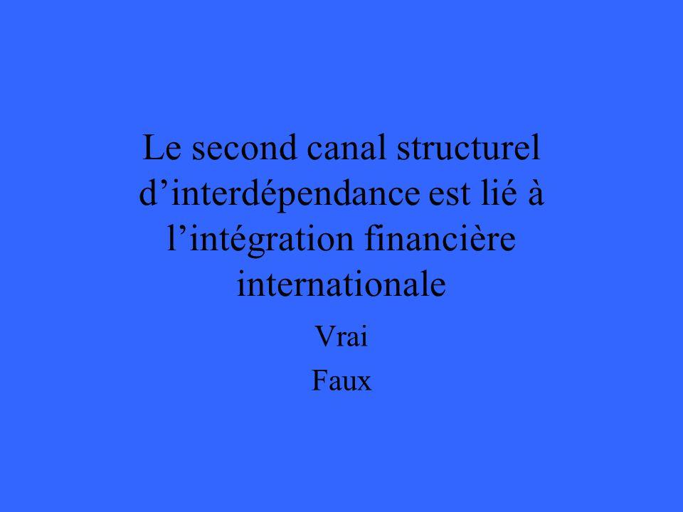 Le second canal structurel dinterdépendance est lié à lintégration financière internationale Vrai Faux