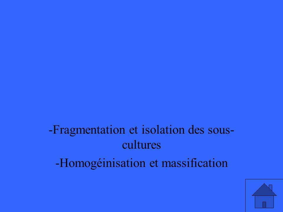-Fragmentation et isolation des sous- cultures -Homogéinisation et massification