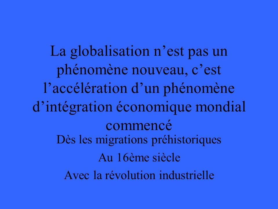 La globalisation nest pas un phénomène nouveau, cest laccélération dun phénomène dintégration économique mondial commencé Dès les migrations préhistoriques Au 16ème siècle Avec la révolution industrielle