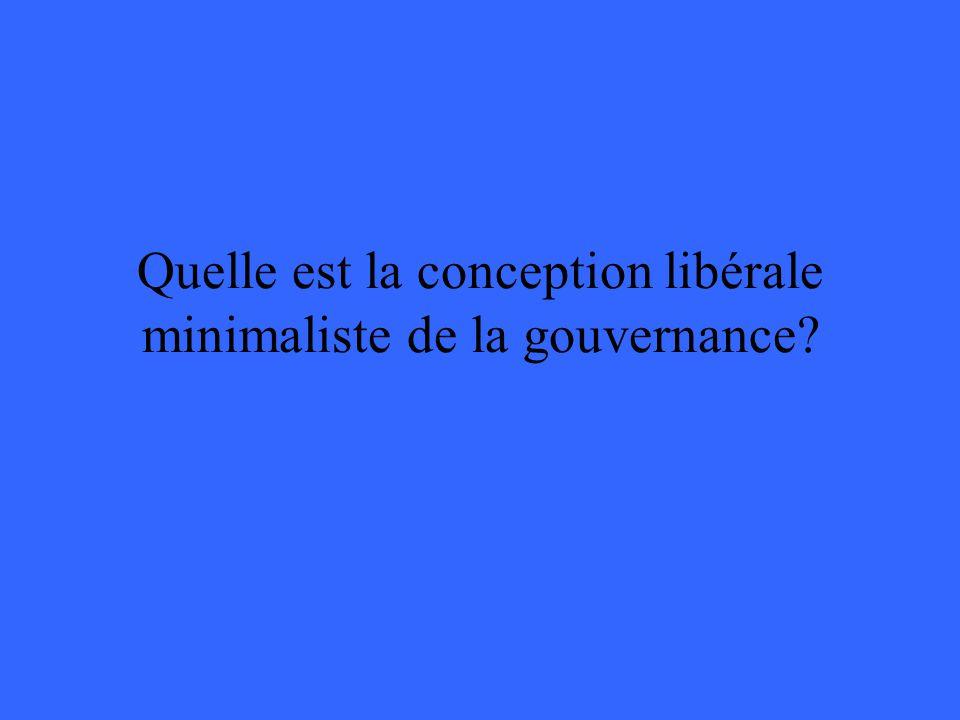 Quelle est la conception libérale minimaliste de la gouvernance?