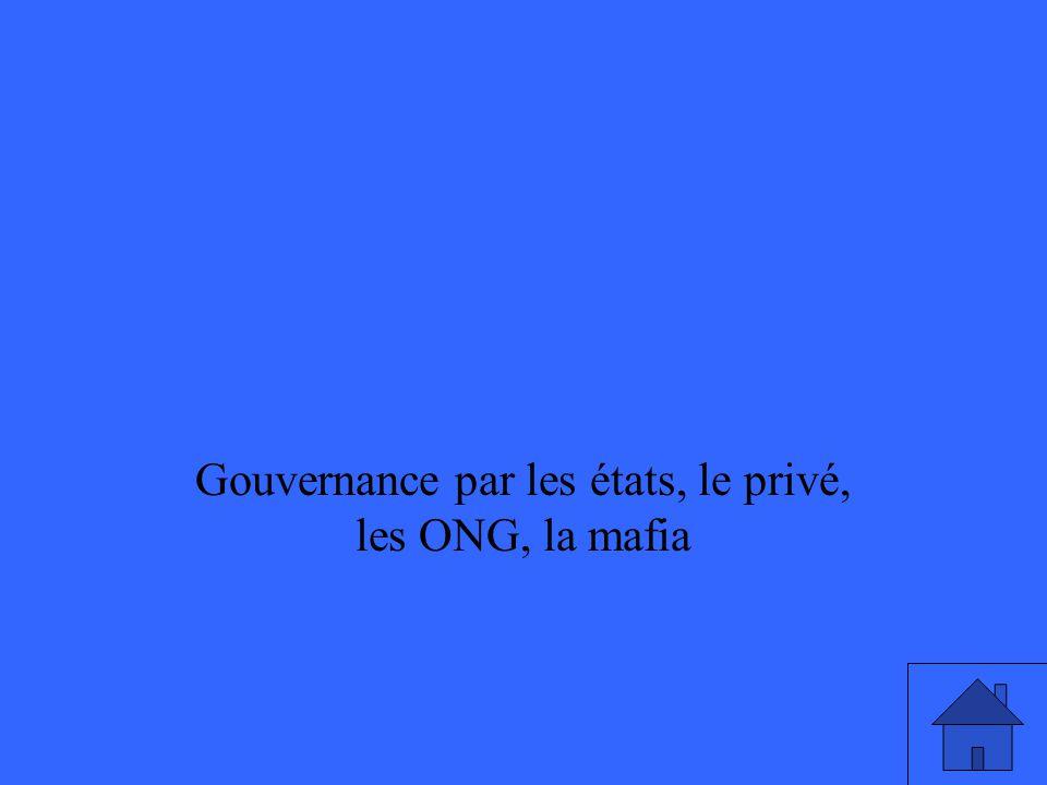 Gouvernance par les états, le privé, les ONG, la mafia