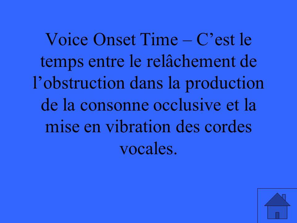 Voice Onset Time – Cest le temps entre le relâchement de lobstruction dans la production de la consonne occlusive et la mise en vibration des cordes v
