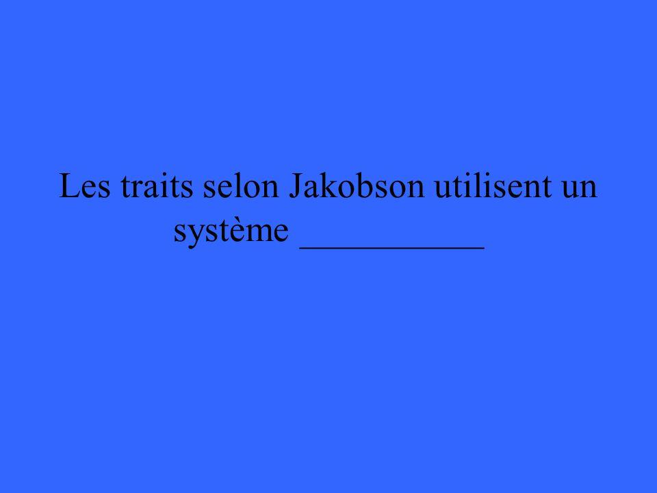 Les traits selon Jakobson utilisent un système __________